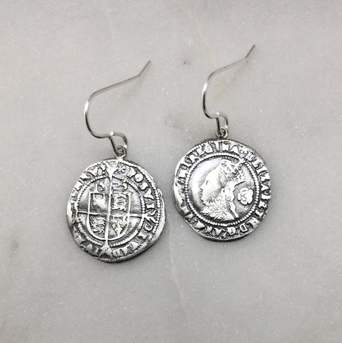 Silver Tudor Coin Earrings