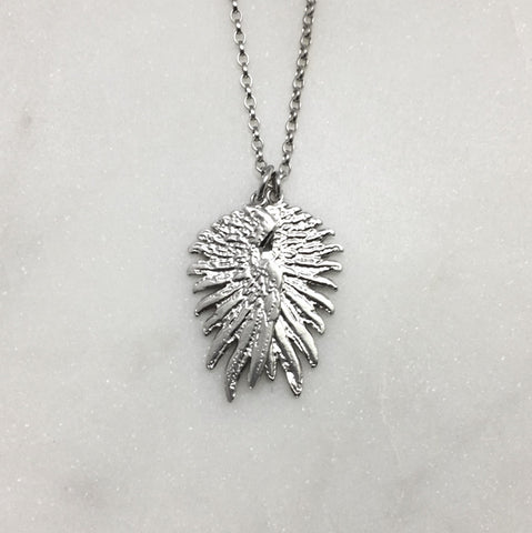 Tiny Double Silver Wing Necklace