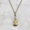 Gold Engraved Violin Necklace