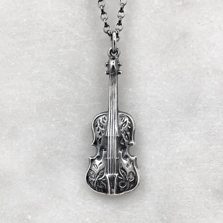 Oxidised Silver Engraved Violin Necklace