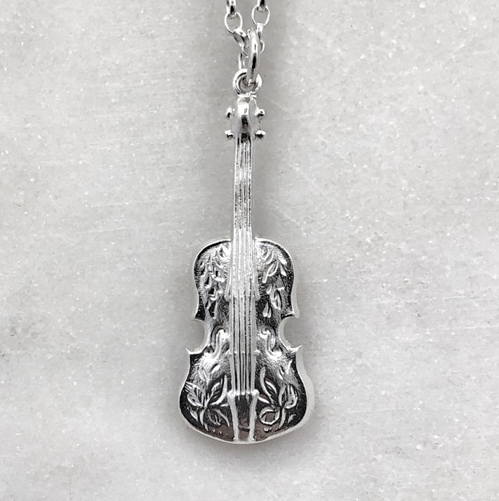 Silver Engraved Violin Necklace