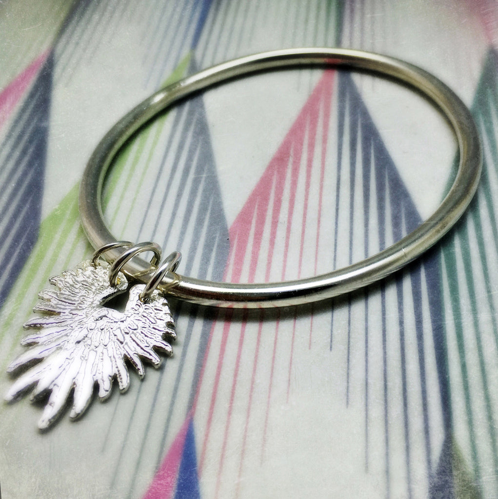 Solid Silver Winged Bangle