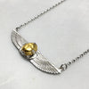 Small Winged Gold Scarab Beetle Necklace