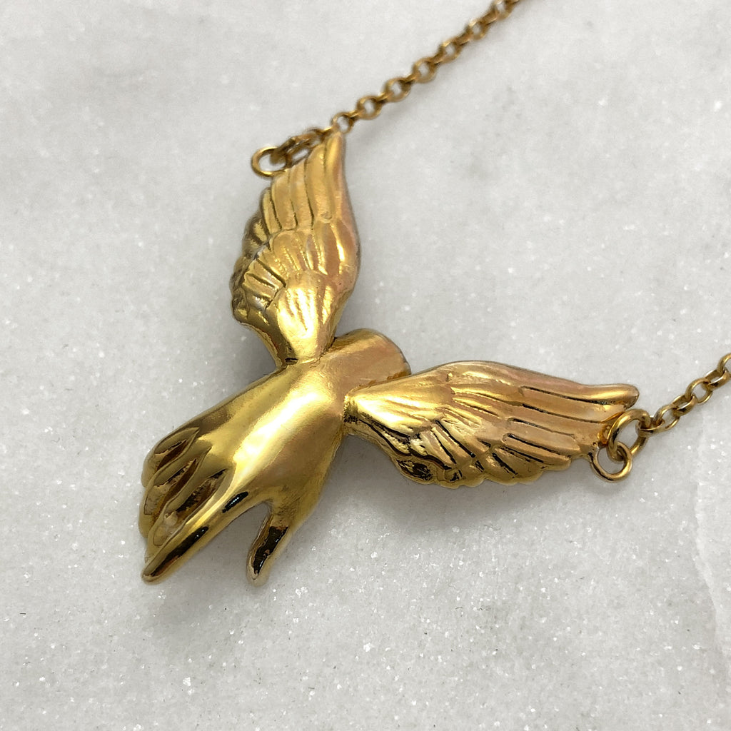 Guardian Angel Winged Hand Gold Necklace