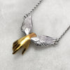 Guardian Angel Winged Gold Hand Necklace