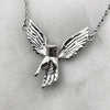 Guardian Angel Winged Hand Silver Necklace