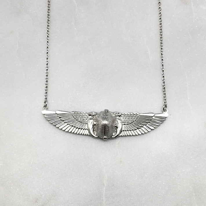 Winged Scarab Beetle Necklace