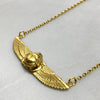 Small Gold Winged Scarab Beetle Necklace