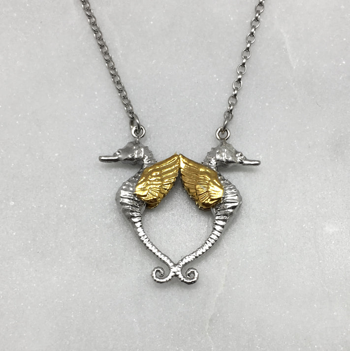Double Gold Winged Seahorse Necklace