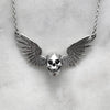 Silver Winged Skull Necklace With Onyx Eyes