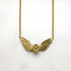 Gold Winged Skull Necklace