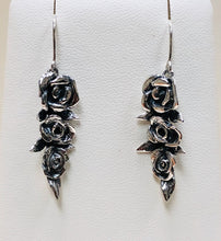 Load image into Gallery viewer, Three Roses in Sterling Silver Dangle Earrings