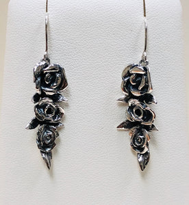 Three Roses in Sterling Silver Dangle Earrings