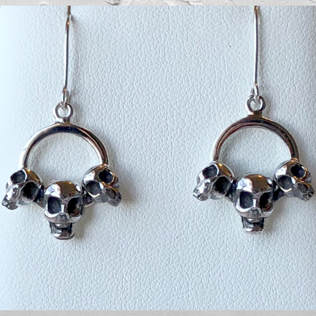Three Skull Dangle Earrings in Sterling Silver