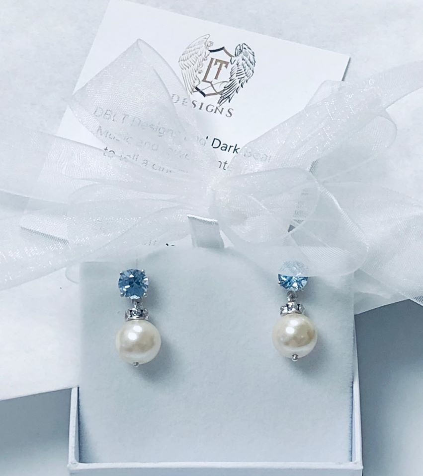 Blue Crystals set in .925 Sterling Silver Basket and Faux Pearl Earrings