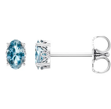 Load image into Gallery viewer, Sky Blue Topaz Earrings in 14K White Gold