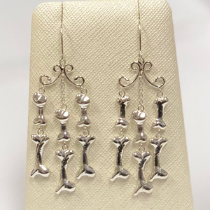 Bone Chandelier Earrings in Sterling Silver