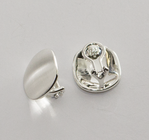 Sterling Silver Button Clip-on Earrings