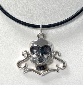 Large Skull Head in Sterling Silver 18 Inch Leather Cord