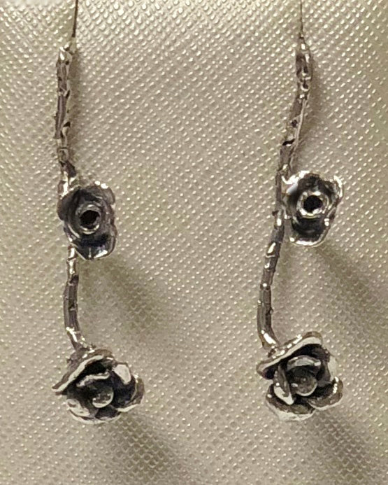 Sterling Silver Rose Dangle Earring