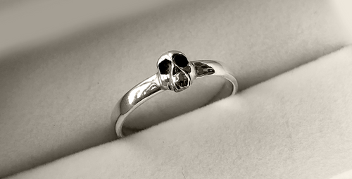 Tiny Skull Stack Ring in Sterling Silver