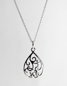 Filigree Teardrop Pendant in Sterling Silver