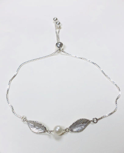 Rose Leaf Bracelet with Pearl Center in Sterling Silver