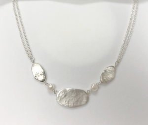 Oval Link Necklace with Freshwater Pearls in Sterling Silver