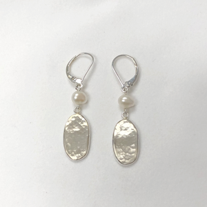 Oval Link Earring Dangles with Freshwater Pearl in Sterling Silver