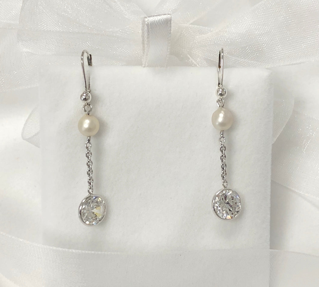 CZ Freshwater Pearl and Chain Drop Earring Wrapped in .925 Sterling Silver