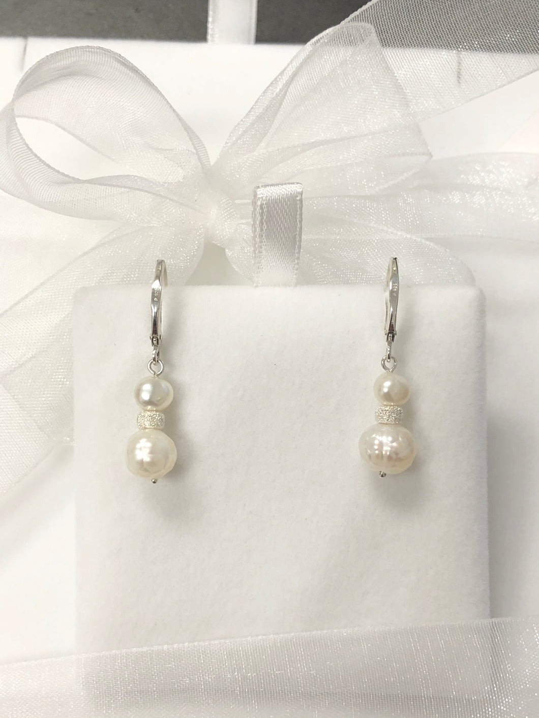 Freshwater Genuine Pearl Drop Earrings in Sterling Silver