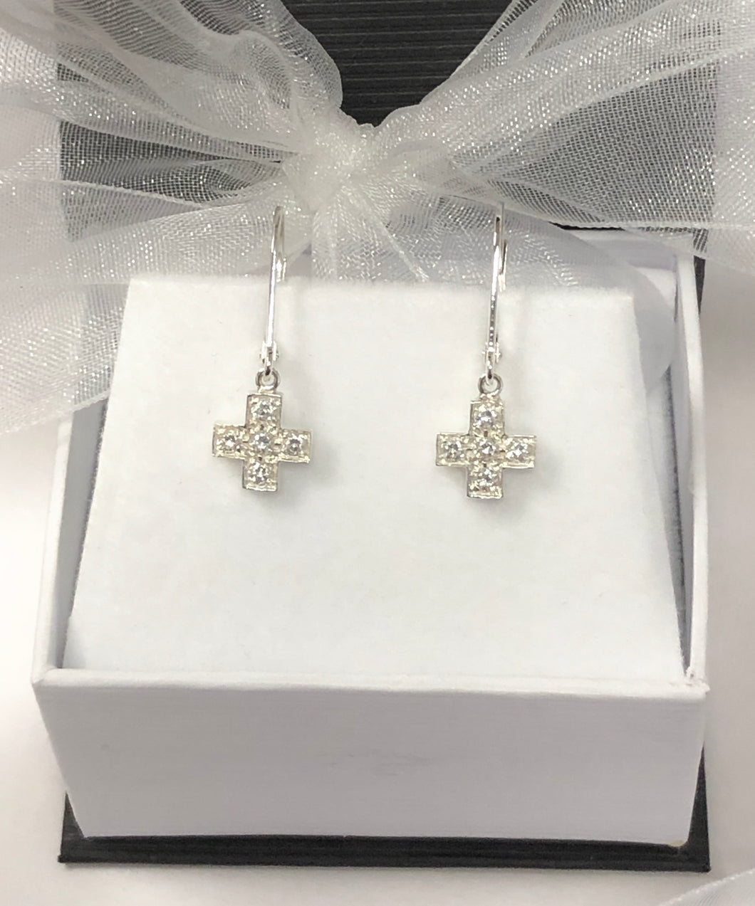 Cross Set with Crystals in Sterling Silver Earrings