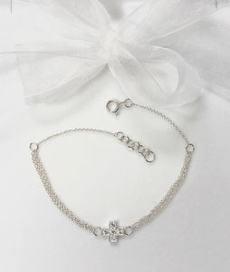 Cross Set with Crystals Bracelet in Sterling Silver