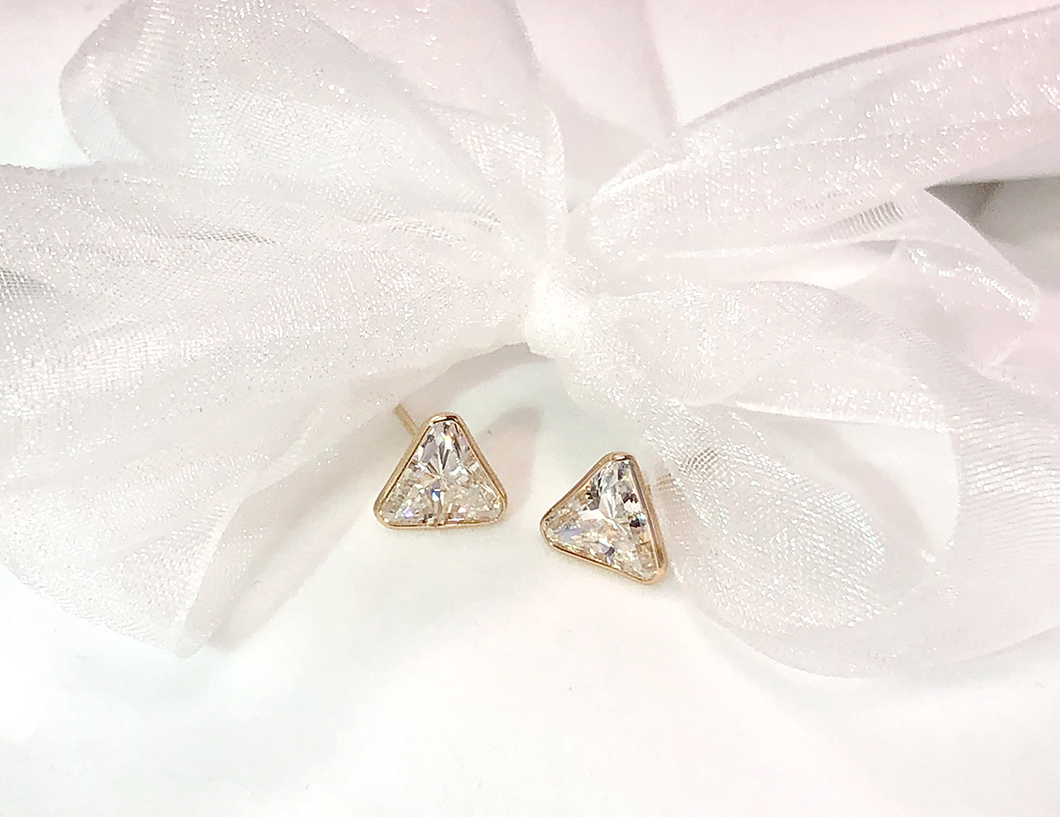 18 Karat Yellow Gold CZ Stud Earrings