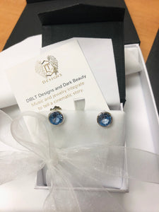 Blue Topaz Color CZ's Post Earrings in Sterling Silver