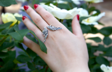 Load image into Gallery viewer, Guardian Angel Wing Ring in Sterling Silver