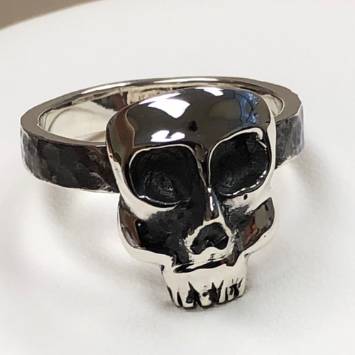 Large Skull Ring in Sterling Silver