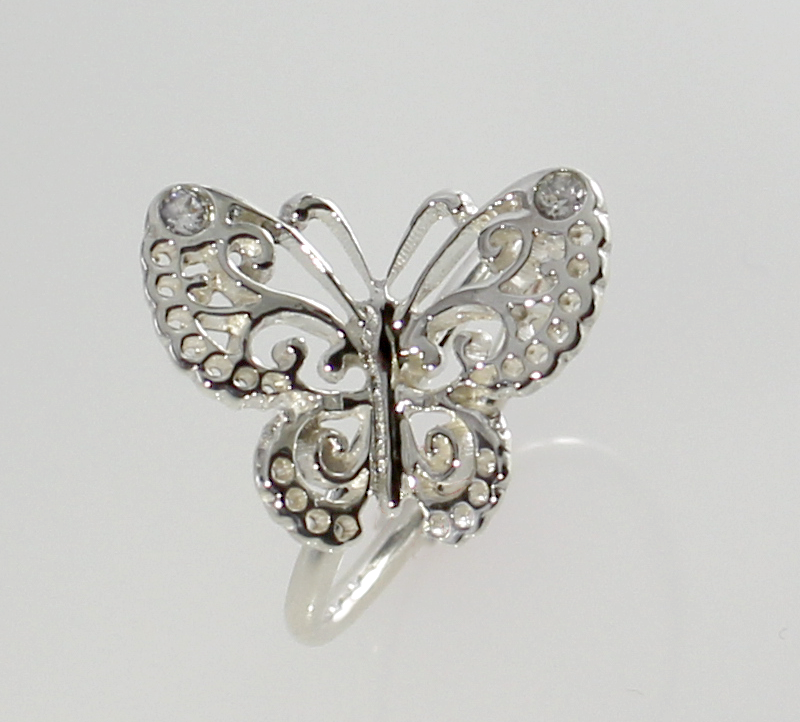 Butterfly Ring in Sterling Silver with Swarovski