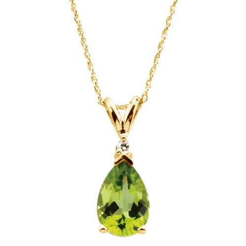 Pear Peridot and Diamond Necklace in 14K Yellow Gold