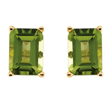 Load image into Gallery viewer, Peridot Stud Earrings in 14K Yellow Gold
