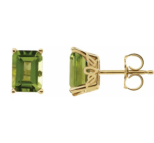 Peridot Stud Earrings in 14K Yellow Gold