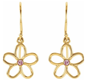 Pink Tourmaline Flower Earrings in 14K Yellow Gold