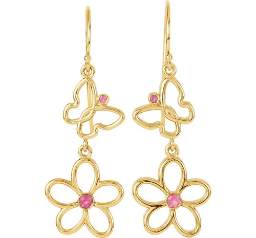 Pink Tourmaline Floral & Butterfly Earrings in 14K Yellow Gold