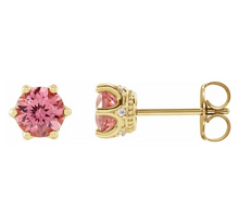 Load image into Gallery viewer, Pink Tourmaline and Diamond Crown Earrings in 14K Yellow Gold