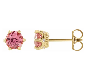 Pink Tourmaline and Diamond Crown Earrings in 14K Yellow Gold