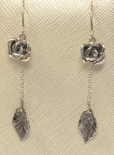 Rose Leaf Drop Earrings with Sterling Silver Chain