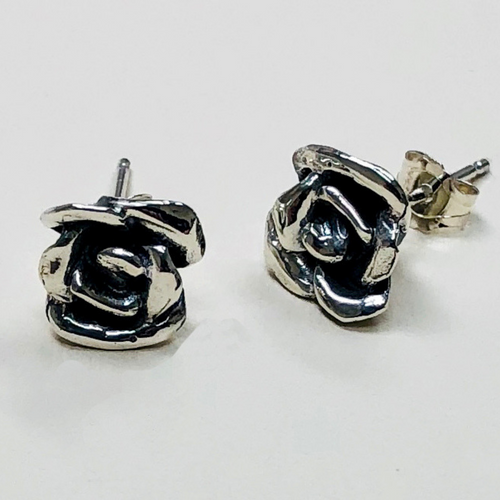 Artisan Rose Post Earrings in Sterling Silver