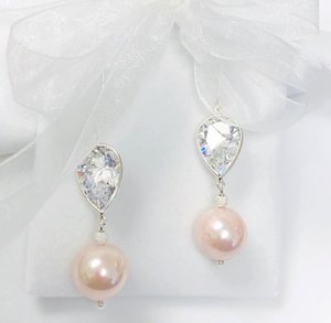 CZ Pear Drop Earrings with Pink Pearl Bead in Sterling Silver