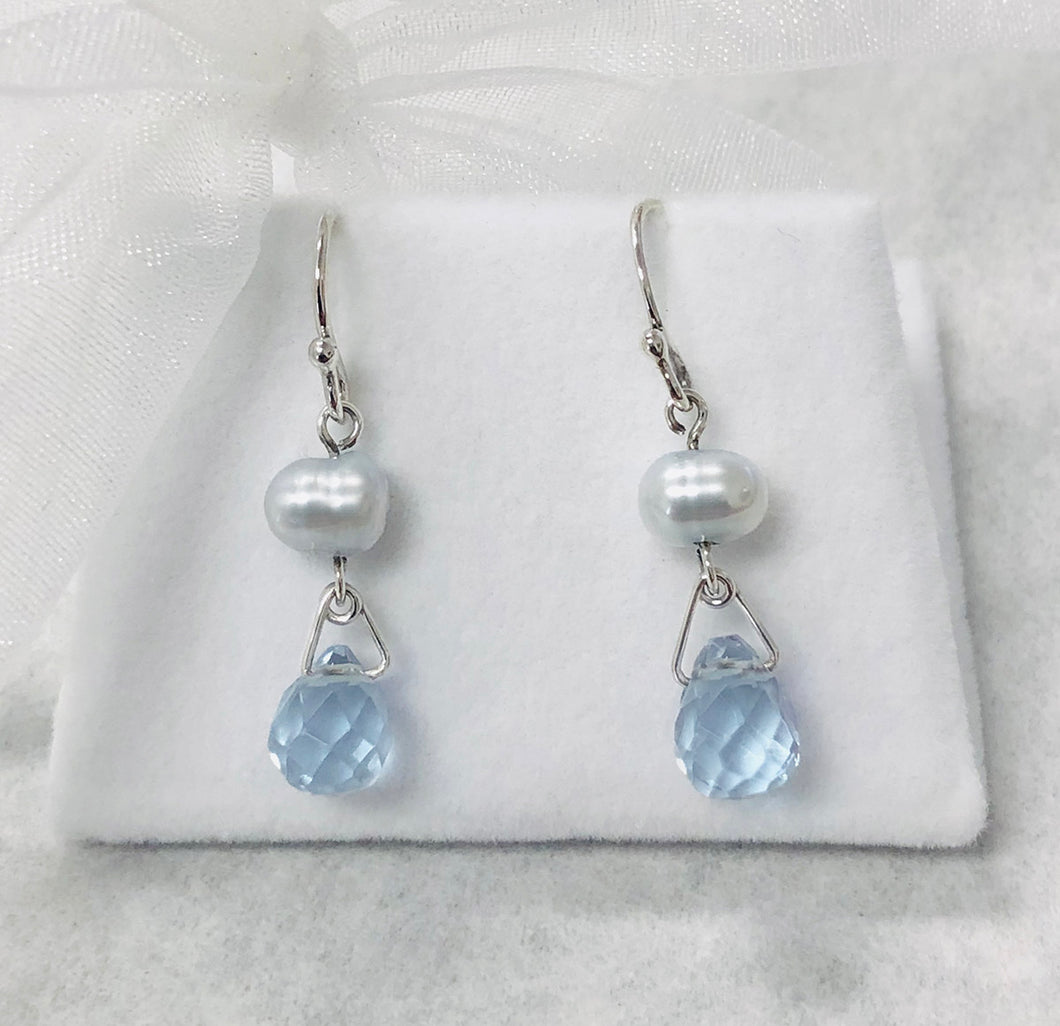Freshwater Pearl Nugget and Briolette Drop Earrings in Sterling Silver