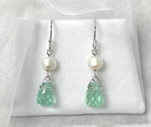 Load image into Gallery viewer, Freshwater Pearl Nugget and Briolette Drop Earrings in Sterling Silver